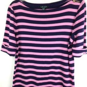 Lauren Ralph Lauren Size L Short Sleeve Striped